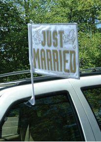 Amscan Drapeau de voiture romantique juste marié blanc-or