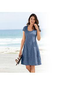 Robe estivale en soie fripée, 44 - Bleu, femme, soie