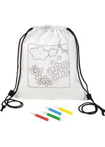 Giffits Jouets pour enfants publicitaires personnalisés: 'Sac à dos à colorier ...' - Blanc - Polyester - comme goodies d'entreprise Impression du logo moyennant des frais supplémentaires (1 pièce/prix)