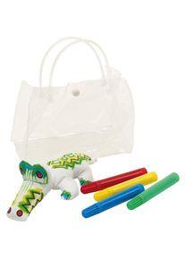 Giffits Jouets pour enfants publicitaires: 'Set de dessin CROCODILE' - Blanc - polyester / plastique - comme objets-publicitaires Impression du logo moyennant des frais supplémentaires (1 pièce/prix)