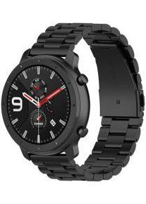 Universeel Smartwatch 20MM Bandje Kralenband Roestvrij Staal Zwart