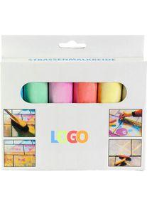 Giffits Jouets pour enfants publicitaires: 'Set de 6 craies' - multicolore - Sulfate de calcium, carton - comme objets publicitaires Impression du logo