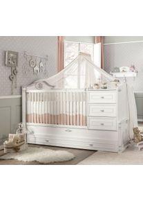 Patut transformabil cu sertar din pal, pentru bebe Romantic Baby White, 180 x 80 cm