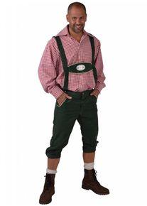 Feestbazaar Tiroler kleding: Broek met bretels Edelweiss groen