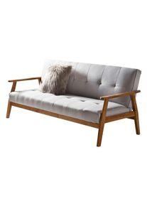 Canapea extensibilă Fergo 190x85x81 cm, textil, gri deschis