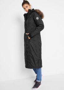 bonprix Outdoor kleding, Lange outdoor jas met imitatiebont, zwart, Dames