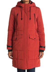 Imbracaminte Femei Lucky Brand Quilted Hooded Long Parka Jacket BRICK