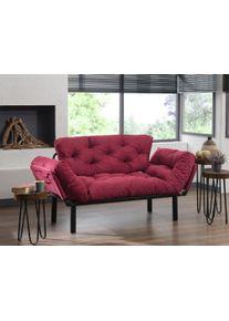 Canapea pentru terasa, stofa si cadru metalic, 2 locuri Nita Bordeaux, l155xA70xH85 cm