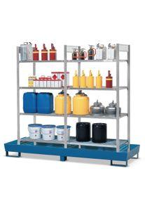 Rayonnage à matières dangereuses ASECOS pour liquides dangereux pour les eaux et inflammables, avec cuve stationnaire galvanisée, 4 caillebotis