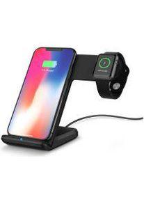 2 in 1 Draadloze Oplader 10W voor Smartphone en Apple Watch Zwart