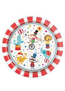 UNIQUE 8 assiettes en papier d'artistes de cirque 23cm