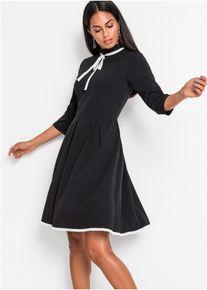 bonprix Jurken, Jersey jurk met 3/4 mouwen, zwart, Dames