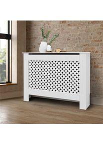 Cache-radiateur avec motif nid d'abeille 112x19x82 cm MDF laqué blanc