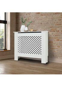 Cache-radiateur avec motif nid d'abeille 78x19x82 cm MDF laqué blanc