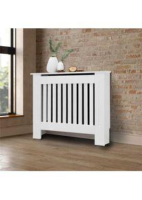 Habillage de radiateur style rustique 78x19x82 cm MDF laqué blanc