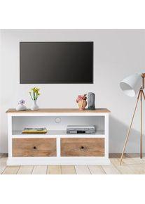 Planche basse TV naturel/blanc, 110x45x57 cm, avec 2 tiroirs, en bois de manguier