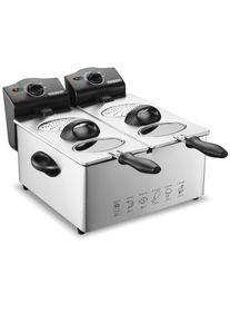 Deuba® Friteuse double en acier inoxydable 2x2000 W - 2x3 Litres Friture Cuisine