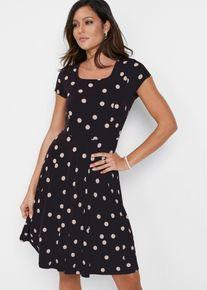 bonprix Jurken, Corrigerende jersey jurk met print, zwart, Dames
