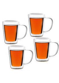 Monzana® Set de 4 verres à thé à double paroi avec anse 250 ml