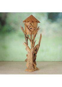 Casuta decorativa pentru pasari, din lemn de tec Calva Natur, Ø50xH150 cm
