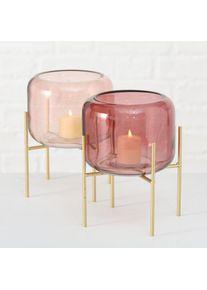 Suport din metal si sticla, pentru lumanare Leona Small Auriu / Roz, Modele Asortate, Ø17xH19 cm