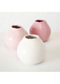 Vaza decorativa din ceramica Tessa Roz / Alb, Modele Asortate, Ø13xH13 cm