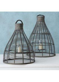 Set 2 felinare decorative, din bambus, sticla si metal Rantum Natur / Gri, Ø45xH60 cm / Ø39,5xH49 cm