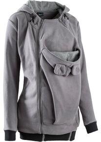 bonprix veste en polaire de grossesse avec empiècement pour bébé pour la grossesse & après pour femme en gris avec manches longues
