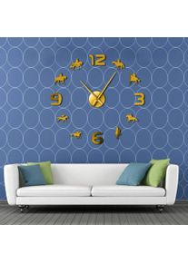 Horse Racing DIY Giant Wall Clocks Horse Racing Wall Art Country House Racehorses Decor Frameless Wall Watch Gift for a Jockey(Gold,37inch) Original Art Gift for Home Decor