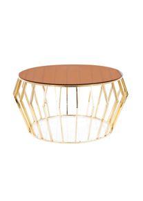 Masa de cafea, din sticla si metal Ariana A Amber / Auriu, Ø80xH45 cm