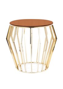Masa de cafea, din sticla si metal Ariana B Amber / Auriu, Ø50xH55 cm