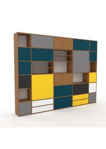 MYCS Schrankwand Weiß - Moderne Wohnwand: Schubladen in Weiß & Türen in Blaugrün - Hochwertige Materialien - 303 x 233 x 35 cm,...