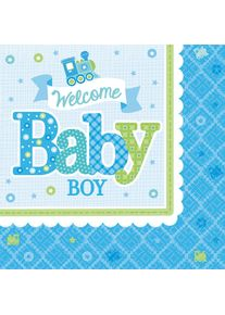Amscan 16 serviettes Welcome Baby Boy 33cm