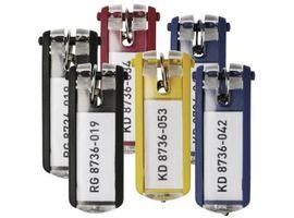 DURABLE KEY CLIP Schlüsselanhänger, Schlüsselclip mit permanent sichtbarem Beschriftungsfeld, 1 Beutel = 6 Stück, farbig sortiert