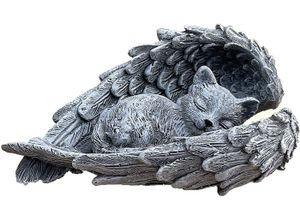 Stone and Style Gartenfigur »Steinfigur Grabschmuck Katze im Flügel«