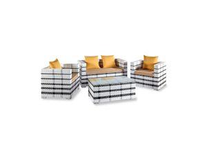 wuuhoo Terrasse »Polyrattan Lounge Garnitur Kenia I Set 4-teilig«, Design Sitzgruppe für Garten und Terrasse in weiß incl. Sitzkissen I Aluminiumgestell Glastisch I Wetterfest für Innen und Außen