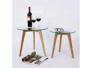Homestyle4u Beistelltisch »Couchtisch Glastisch Rund