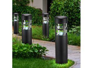 etc-shop Einbauleuchte, 4er Set LED Solar Außen Steck Lampen Garten Weg Beleuchtung Terrassen Erdspieß Leuchten schwarz
