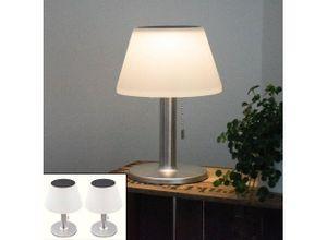 etc-shop LED Dekolicht, 2er Set LED Solar Tisch Lampen Terrassen Außen Beleuchtung Garten Edelstahl Design Leuchten weiß