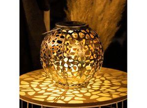 etc-shop LED Dekolicht, LED Außen Solar Leuchte Kugel Geflecht silber-antik Garten Strahler Terrassen Deko Tisch Lampe