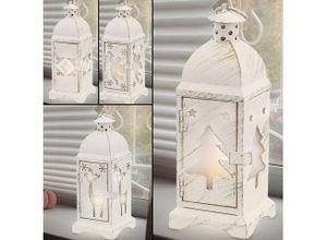 etc-shop LED Dekolicht, Kleine Laterne Batterie Laterne Weihnachten Weihnachtslampe Innen Weihnachtslaterne in weiß Shabby Chic