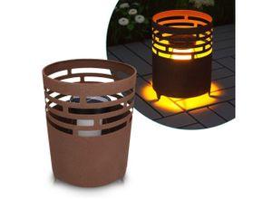 Navaris LED Gartenleuchte, LED Solar Feuerstelle - 19 x 25cm - mit Erdspieß - Garten Solarleuchte Lampe - Deko Solarlampe Balkon Leuchte - Außen Gartenleuchte, braun
