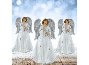etc-shop LED Dekolicht, 3er Set Schutz Engel Weihnachten Dekoration 17 cm Figur Advent XMAS Winter