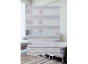 Doppelrollo »Doppelrollo Klemmfix ohne Bohren weiß Silber Rankenmuster 1533-01 mit Perlen für Fenster und Türen Länge: 200 cm