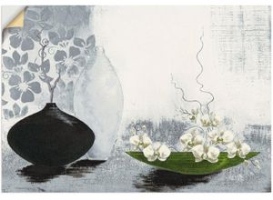 Artland Wandbild »Modernes bauchiges Gefäß mit Orchideen«, Vasen & Töpfe (1 Stück), in vielen Größen & Produktarten - Alubild / Outdoorbild für den Außenbereich, Leinwandbild, Poster, Wandaufkleber / Wandtattoo auch für Badezimmer geeignet