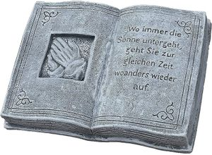 Stone and Style Gartenfigur »Steinfigur Grabschmuck Buch Wo immer die Sonne untergeht ...«